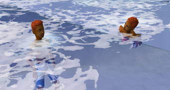 Jared and Tommy swimming in the ocean at SimVille Beach.png