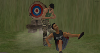Julio and Serge fighting at Sweat N Sweat Glory 5.png