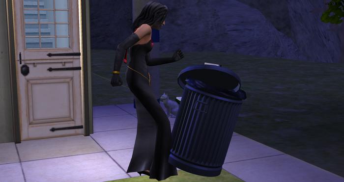 Felicia kicking Serge's trash can.png